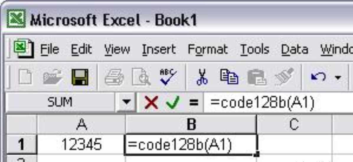 Ketikkan-fungsi-barcode-pada-sel-di-sebelahnya-yaitu-Code128A1-pada-sel-B2-kemudian-tekan-enter